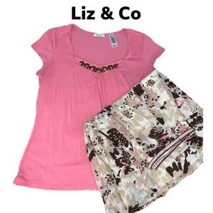 EUC💐🌸Liz & Co Blouse & Skirt